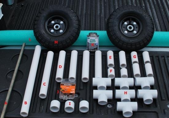 diy kayak cart materials