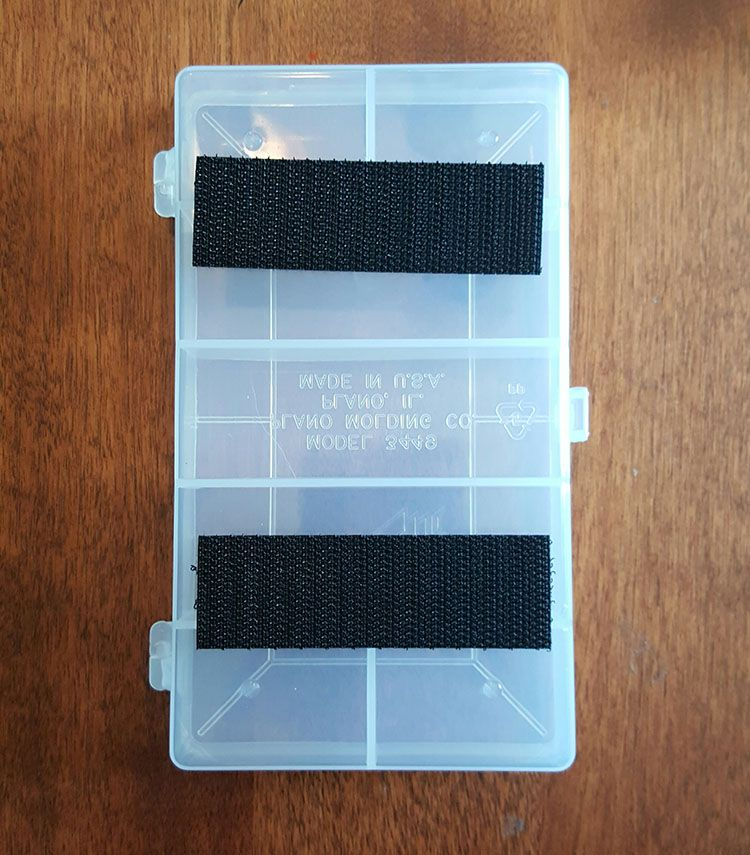 velcro attached to tackle box