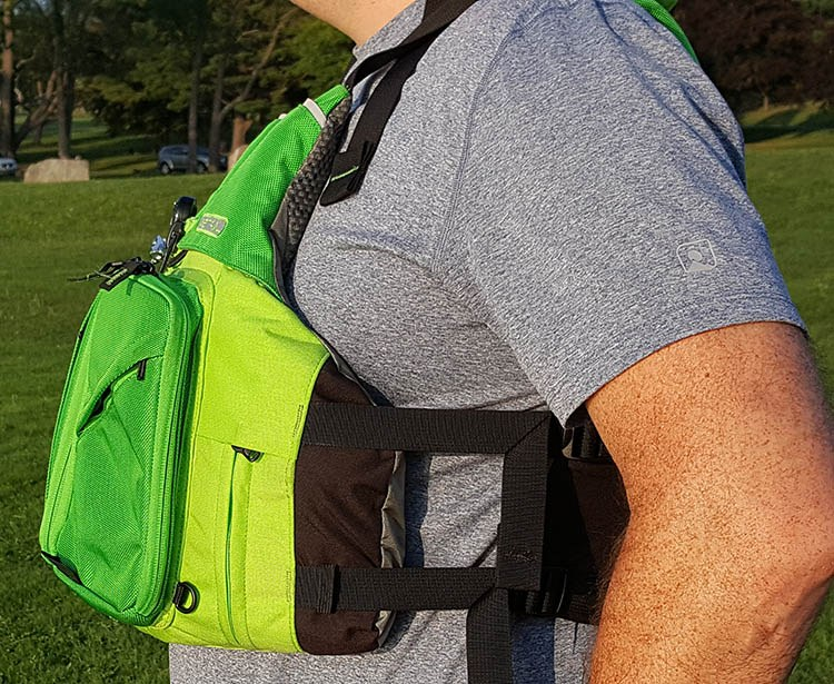 side view of astral ronny fisher personal floatation device vest