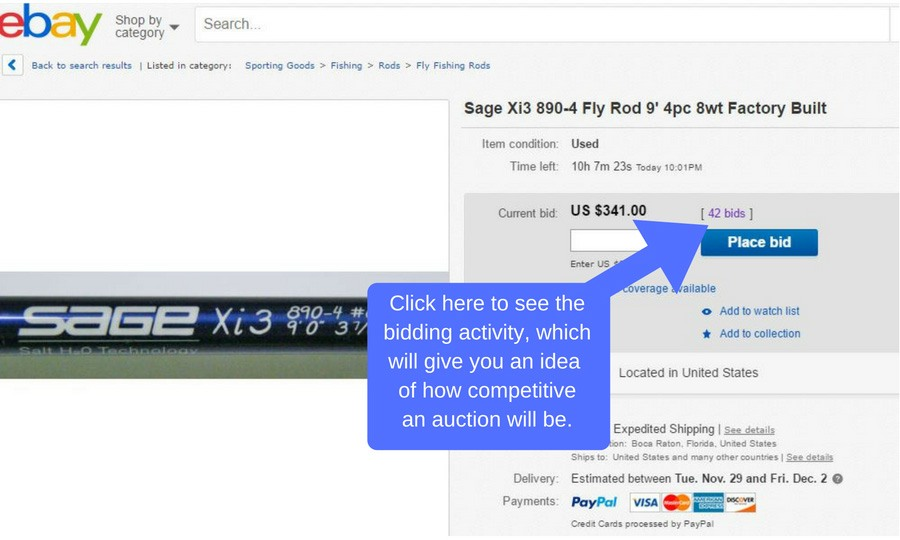 fly rods and reels on ebay bidding activity