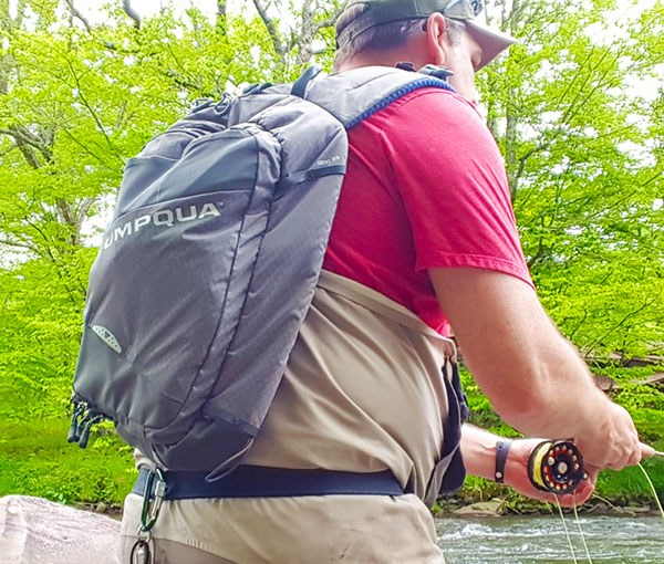 umpqua steamboat sling pack on the river