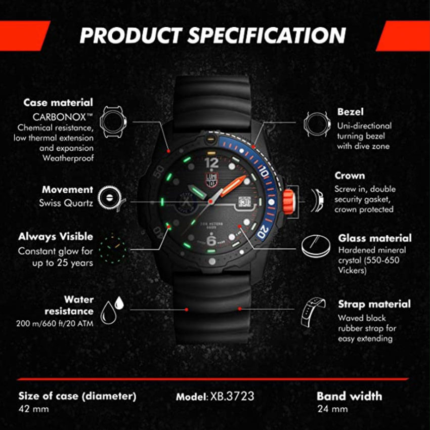 Bear Grylls Luminox 3723 Sea Series Watch specs