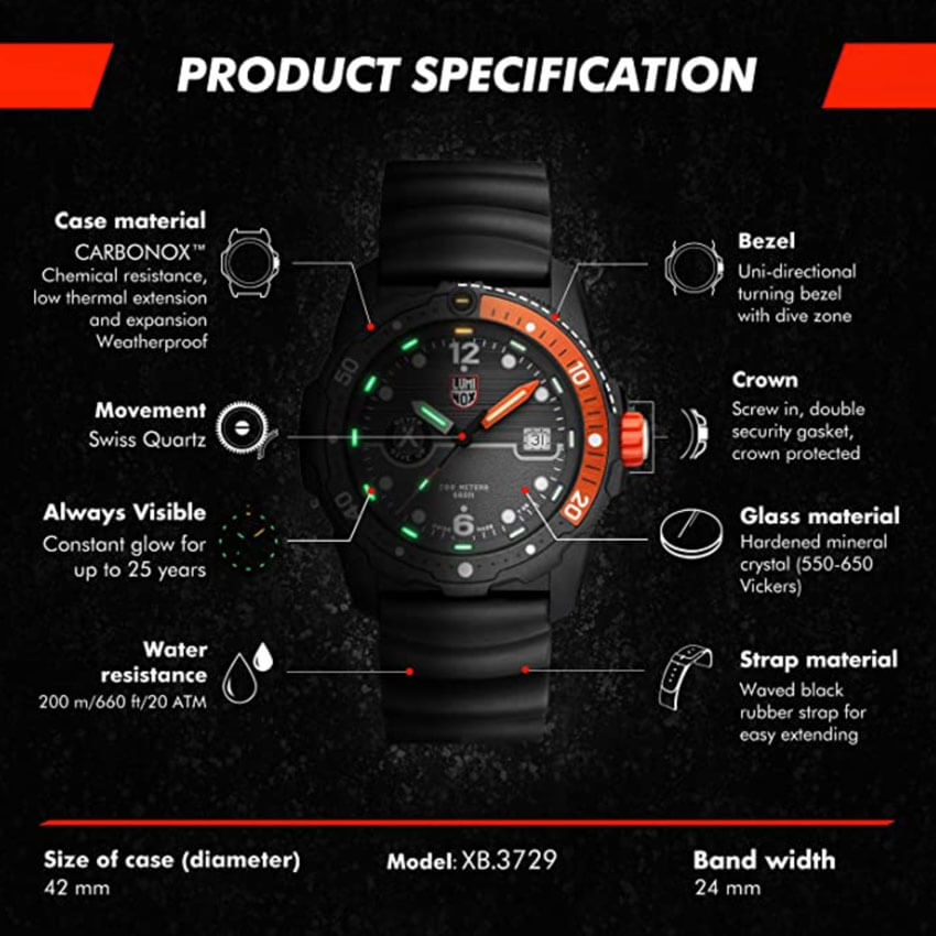 Bear Grylls Luminox 3729 Sea Series Watch specs