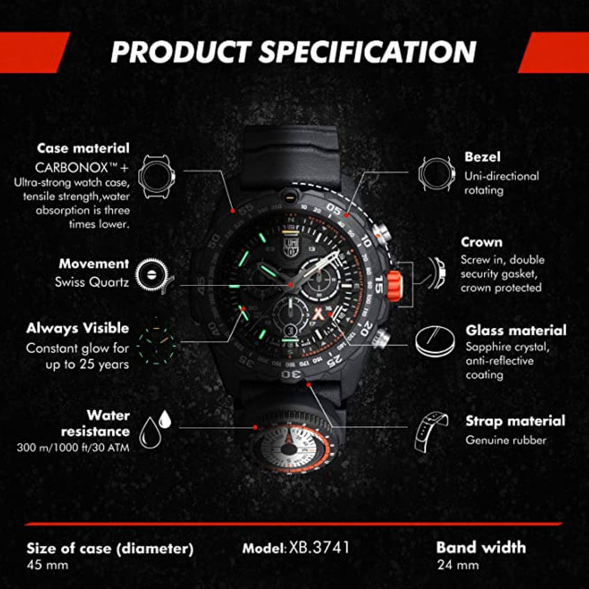 Bear Grylls Luminox 3741 Master Series Watch specs