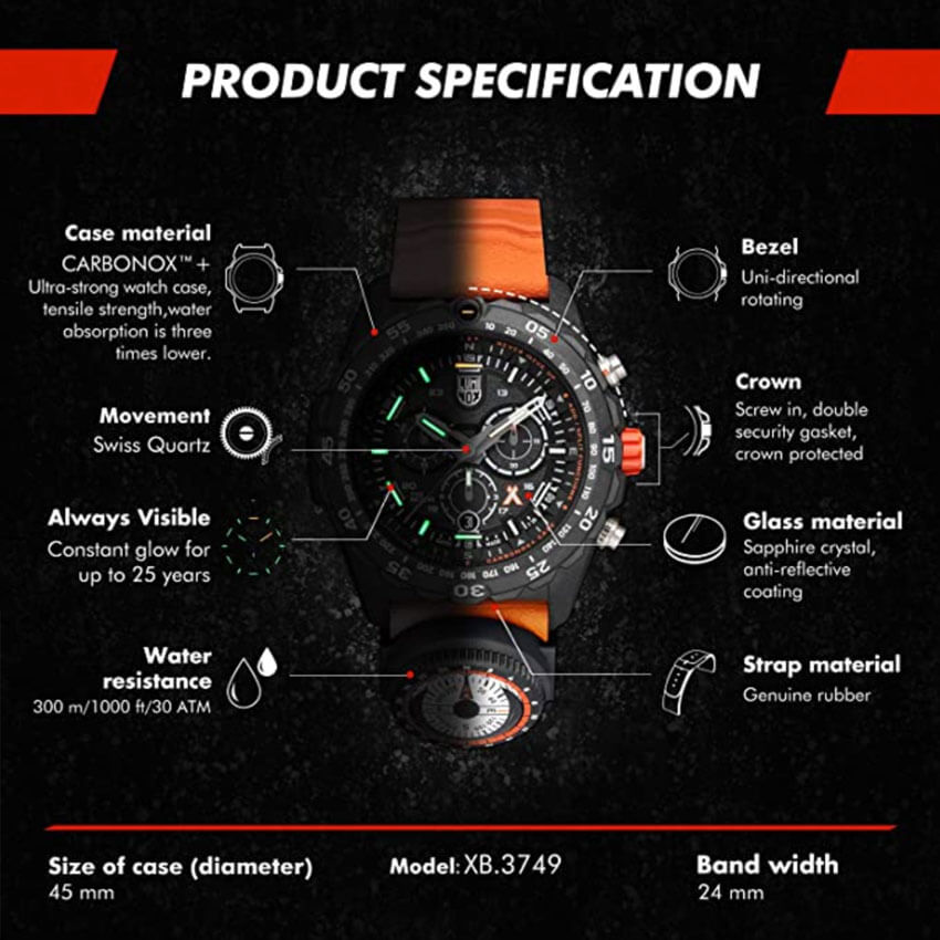 Bear Grylls Luminox 3749 Master Series Watch specs
