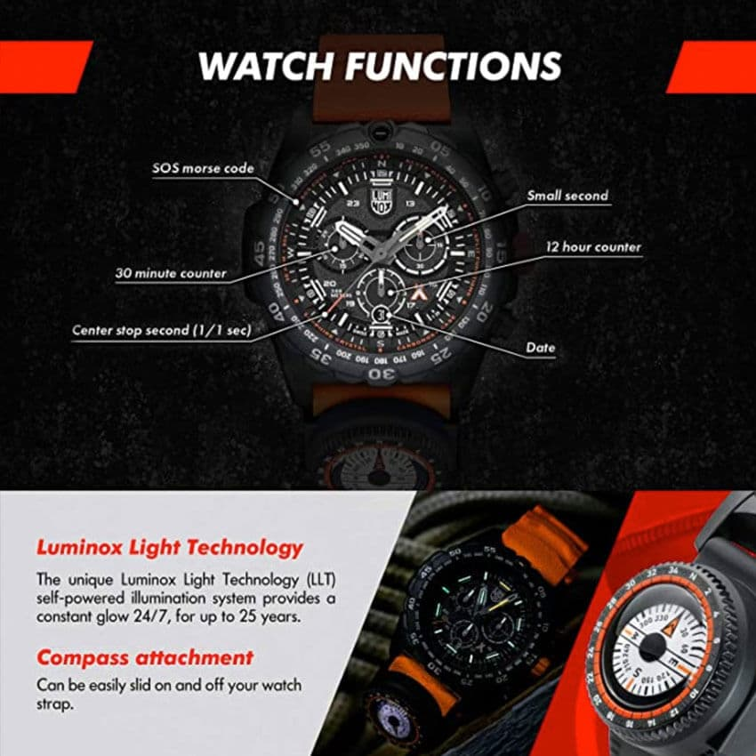 Bear Grylls Luminox 3749 Master Series Watch functions
