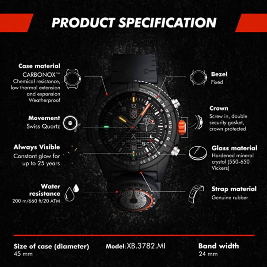 Bear Grylls Luminox 3782 Land Series Watch specs