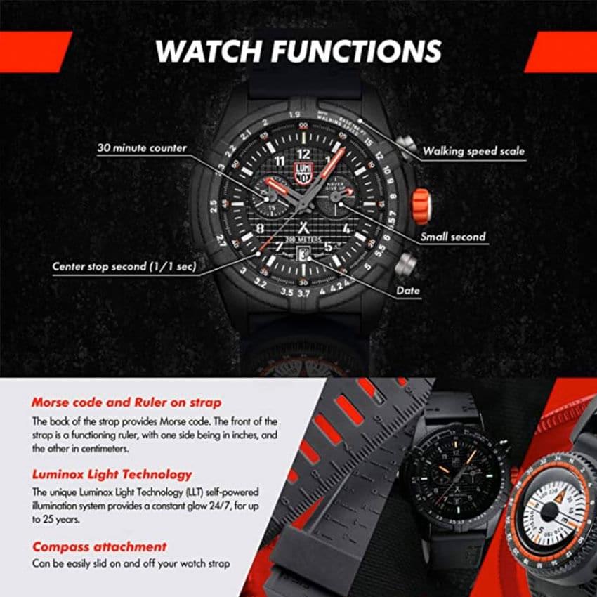 Bear Grylls Luminox 3782 Land Series Watch functions