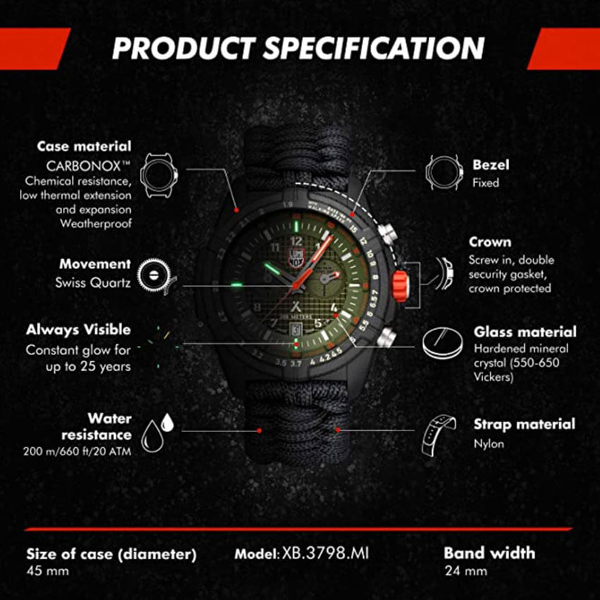 Bear Grylls Luminox 3798 Land Series Watch specs
